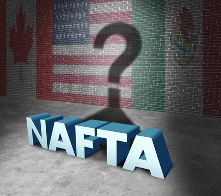 ratification: NAFTA or the north american free trade agreement concept as the flags of United States Mexico and Canada as a trade deal negotiation question fot the American Mexican and Canadian governments as a 3D illustration.