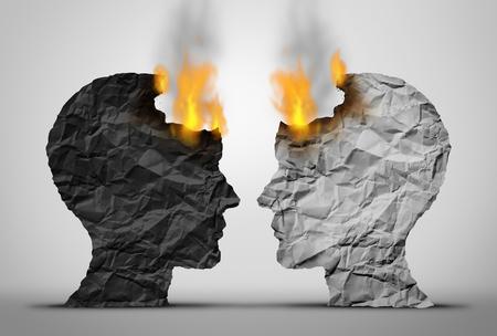 Raciale relaties uitdaging en sociale of samenleving ras spanning als twee zwart-witte menselijke hoofden tegenover elkaar in crisis als ze zowel branden als een samenleving en sociale relatie problemen in een 3D-stijl van illustratie. Stockfoto