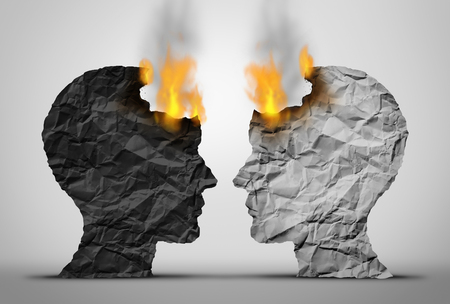 Racial relations challenge and social or society race tension as two black and white human heads facing each other in crisis as they both burn as a society and social relationship trouble in a 3D illustration style.