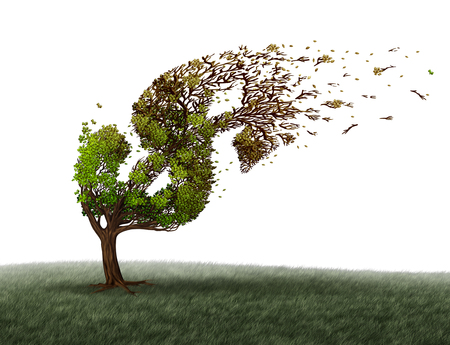 Economic turbulence and financial trouble and money adversity or economy crisis concept as a tree being blown by the wind and damaged or destroyed by the force of a storm as a business crisis metaphor with 3D illustration elements. Stock Photo