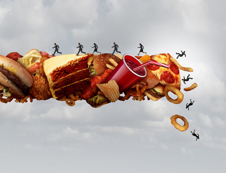 Junk food health risk nutrition concept as a group of people running and falling on a pile of high sugar sodium and cholesterol fat snacks as a diet metaphor for eating hazard with 3D illustration elements. Stock Photo