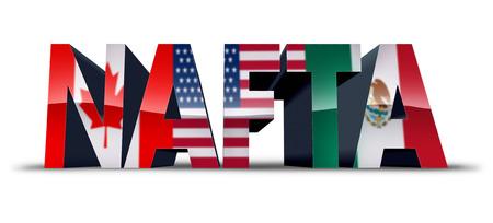 El NAFTA o el símbolo del acuerdo de libre comercio de América del Norte como las banderas de Estados Unidos de México y Canadá como una negociación de negociación comercial y un acuerdo económico para los gobiernos estadounidense y mexicano como ilustración 3D.
