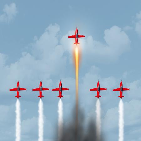Konzept der Exzellenz als Empowerment oder befähigen Symbol als eine Gruppe von Düsenflugzeugen Rennen mit einem Innovator mit einem schnelleren optimierten Motor Erfolg mit 3D-Darstellung Elemente.