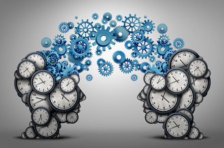 Business time planning partnership as two people heads made of clock cog and gear objects linked together as an organizing a meeting and schedule symbol as a 3D illustration. Stok Fotoğraf - 84443891