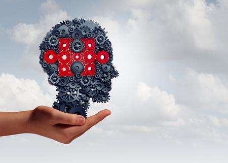 El entrenamiento empresarial de las habilidades y el concepto corporativo del aprendizaje como mano que sostiene un grupo de engranaje y los objetos del diente formaron como cabeza humana con una pieza del rompecabezas como símbolo de enseñanza de la tecnología con los elementos del ejemplo 3D. Foto de archivo - 84930382