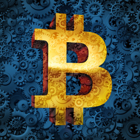 Bitcoin Währung Business und Symbol der cryptocurrency digitale Internet-Währungs-Konjunktur-Konzept der Online-elektronischen Geld in einem Finanzhandel oder Transaktion aus einem Banking-Datenbank-Markt als 3D-Darstellung.