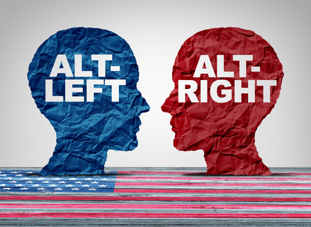 Alt juiste of altleft concept als een politieke en sociaal denken idelogies concept met twee kanten van tegengestelde ideologie debat met 3D-illustratie elementen.