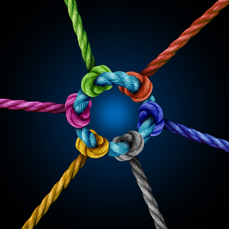 Center network connection business concept as a group of diverse ropes connected to a central circle rope as a network metaphor for connectivity and linking to a centralized support structure. Stock Photo
