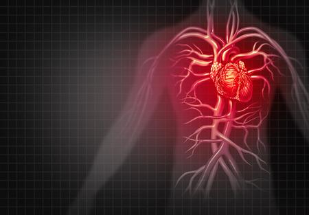 心臓発作や胸部の痛み医療心血管疾患 3 D イラストレーション スタイルの人間循環器官の病気として。