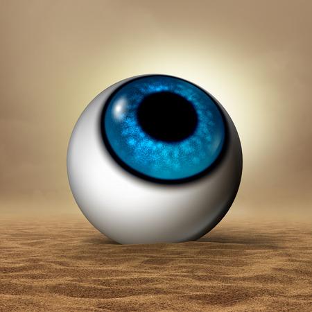 Droog oogziekte medisch concept als een menselijke oogbol in een dorre woestijn als een oogheelkunde of optometrie symbool voor zicht orgaan symptomen van droogte en hudration therapie met 3D-illustratie elementen.