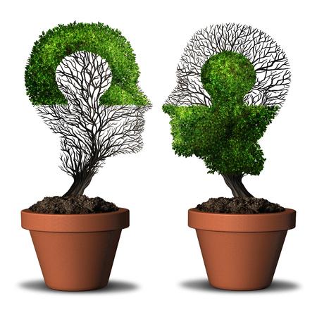 Relación perfecta combinación de pareja y el concepto de doble amistad como dos árboles en forma de cabeza humana con un rompecabezas con elementos de ilustración en 3D.