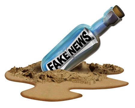 info: Fake news communication symbol and hoax journalistic reporting as a message in a bottle as text as false media reporting metaphor and deceptive disinformation with 3D illustration elements.