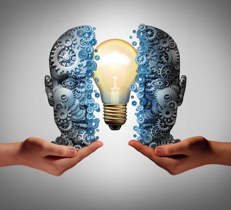 L'éducation de l'intelligence artificielle et concept de solution interactive d'apprentissage de la machine comme une tête faite d'engrenages et de roues dentées avec une ampoule à l'intérieur étant tenue par des mains humaines comme un succès de l'entreprise technologique avec des éléments d'illustration 3D.