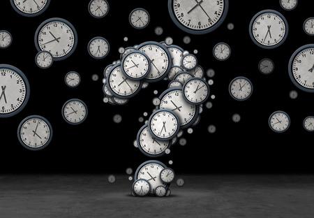 Tijdsvragenconcept als een groep zwevende klokken en uurwerken in de vorm van een vraagteken als een metafoor voor de deadline of bedrijfsplanning verwarring of bedrijfsafspraakinformatie als een 3D-afbeelding op zwart.