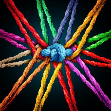 Holding together group as different ropes connected and tied and linked together in the center by a knot as a strong unbreakable chain and community trust and faith metaphor. Standard-Bild