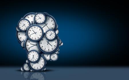 cronologia: Concepto de reflexión de tiempo como un grupo de objetos de reloj en forma de una cabeza humana como una puntualidad de negocios y cita metáfora de estrés o la presión de plazo y icono de tiempo extra como una ilustración 3D sobre un fondo negro.