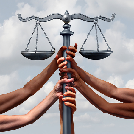 human rights: Community lawyer services and law and immigration or refugee legislation and legal status as a group of people holding up a justice scale together with 3D illustration elements. Stock Photo