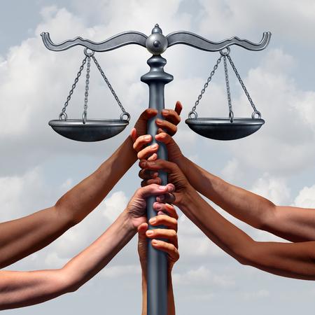 Rechtsanwaltskanzlei und Rechts- und Einwanderungs- oder Flüchtlingsgesetzgebung sowie Rechtsform als Gruppe von Personen, die eine Gerechtigkeitskala zusammen mit 3D-Darstellungselementen aufrechterhalten.