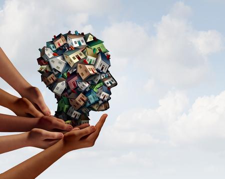Gruppe Immobilien-Agent Agent und Haus Hypotheken-Makler Team-Konzept mit menschlichen Händen Unterstützung einer Gruppe von Häusern oder Häusern als menschliche Kopf Makler für ein Haus Darlehen mit 3D-Darstellung Elemente geformt.