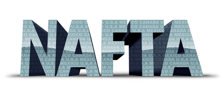 North American free trade agreement or nafta with United States Mexico and Canada as a trade deal negotiation and economic deal fot the American Mexican and Canadian governments as a 3D illustration. Stock Photo