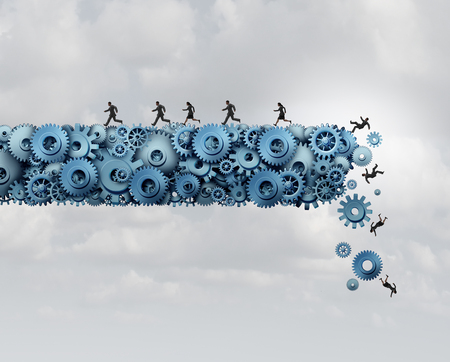 Business and industry risk or market change as a group of businesspeople running and falling from a bridge made of collapsing gear and cogwheels with 3D illustration elements. Stock Photo