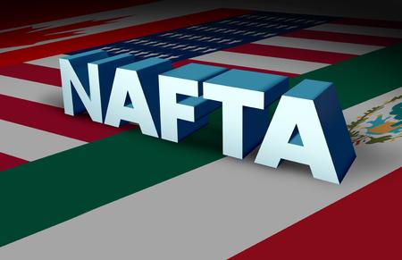 NAFTA-overeenkomst of het Noord-Amerikaanse vrijhandelsovereenkomst-concept als de vlaggen van de Verenigde Staten, Mexico en Canada als een handelsdealonderhandelingsvraag voor de Amerikaanse Mexicaanse en Canadese regeringen als een 3D-illustratie.