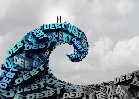 Managing debt challenge and economic deficit trouble as a financial stress concept with a man and woman riding a huge wave made of text as a finance and budget management metaphor with 3D illustration elements. Stock Photo