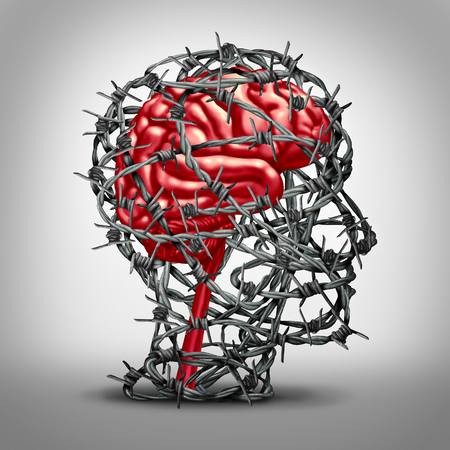 Brain protection concept and protecting the mind icon as a mental health medicine idea with a human thinking organ protected by barbed metal wire shaped as a head with 3D illustration elements.