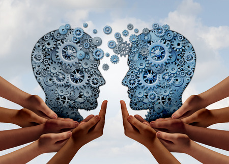 Business Team Technology as the mechanism of gear and cogs connected together in the shape of a human head as two groups of diverse people joining for industry success with 3D illustration elements.
