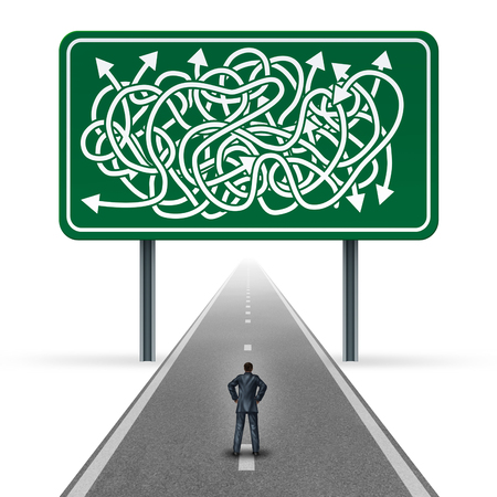 Confused business concept as a businessman standing on a straight road with a traffic sign that has a group of twisted arrows with 3D illustratio elements.