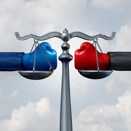 Bemiddelingsregeling en het concept van de arbitragewet als bokshandschoenen op een rechtvaardigheidsschaal als advocaat en de metafoor van de procureurssteun met 3D illustratieelementen.