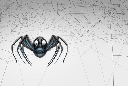 Halloween spider design element background as a creepy crawler arachnid insect hanging from a thread with spiderwebs on white for a promotional message as a 3D illustration. Stock Photo