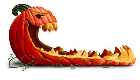 Pumpkin halloween promotion as a blank sign as a spooky orange character with jack o lantern teeth as an advertising and marketing message with a scary expression on a white background with 3D illustration elements.