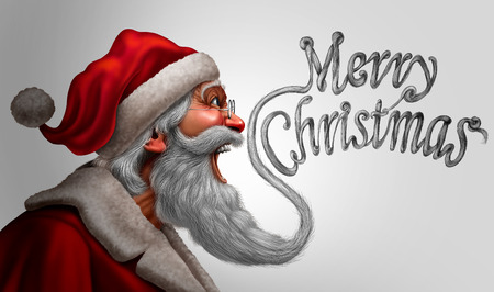 Santa claus merry christmas greetings card promotion as a saint nick beard shaped as a happy seasonalk winter message of joy with 3D illustration elements. Stock Photo
