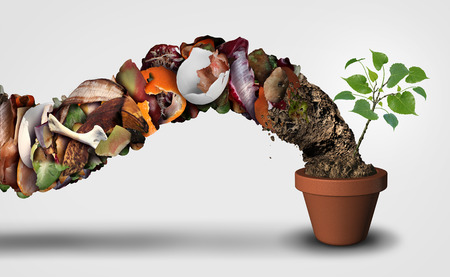 Compost and composting symbol life cycle symbol and an organic recycling stage system concept as a pile of rotting food scraps with soil resulting in a ecological success with a sapling growing in a pot with 3D illustration elements.. Stock fotó - 85238499