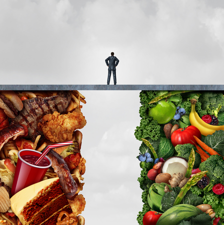 Food diet concept and nutrition decision idea or eating health choices dilemma between healthy good fresh fruit and vegetables or greasy cholesterol rich fast food with a man on a bridge trying to decide what to eat with 3D illustration elements.