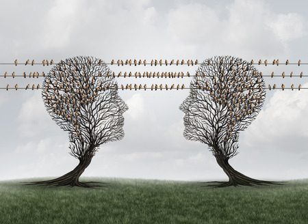 Connection communication network as trees shaped as human heads connected with birds on wires as messenger pigeons as internet data transmission icons with 3D illustration elements.