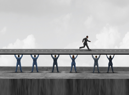 Business group support as a diverse workforce team of people holding up together a road to help a leader run towards success with 3D illustration elements.