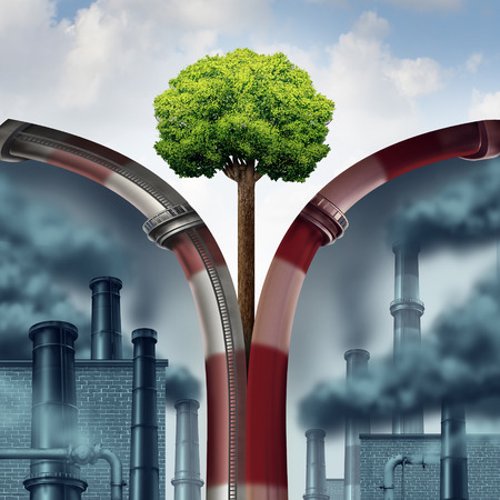 Pollution solution as an open industrial smoke stack and polluted dirty industrial zone as a green tree grows in clain air with 3D illustration elements.