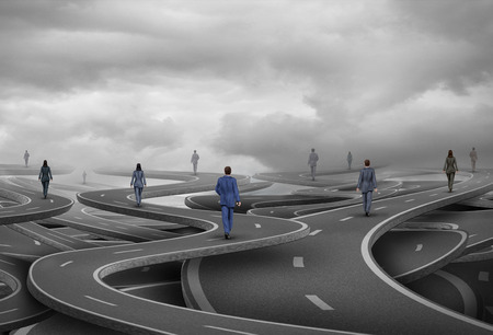 Business people road as businesspeople walking on confused pathways as a corporate symbol for a career path and strategic direction with 3D illustration elements. Stock Photo