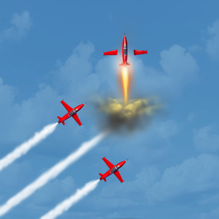 Next level of success and succeeding in business concept as a group of jets flying in the sky with one plane transforming into a rocket blasting upward as a motivational corporate idea as a 3D illustration.