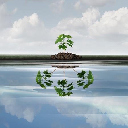 Concepto de negocio de crecimiento futuro como un árbol de árbol con una reflexión de múltiples plantas como un símbolo de expansión o creciente símbolo de marketing corporativo con elementos de ilustración 3d.