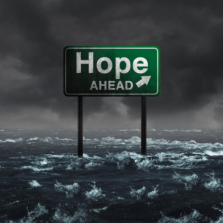 Hope ahead inspirational and motivational life concept as a highway sign drowning in deep flood waters after a hurricane storm as a message of spiritual faith or the promise of recovery and patriotic unity with 3D illustration elements. Stock Photo