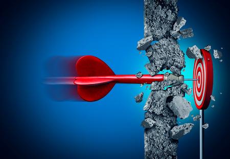 Il successo si rompe senza limiti e supera gli ostacoli come un muro di cemento per raggiungere un obiettivo come una metafora per una guarigione o obiettivi aziendali e colpire un obiettivo finanziario con elementi di illustrazione 3D sul nero.