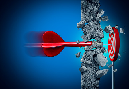 Success breaking through without limits and overcoming obstacles as a concrete wall to achieve a goal as a metaphor for a cure or business goals and hitting a financial target with 3D illustration elements on black. Stock Photo
