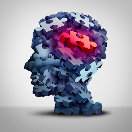 Psychiatric patient symbol and psychiatry services or psychological mental therapy concept with a group of jigsaw puzzle pieces shaped as a human head as a 3D illustration.