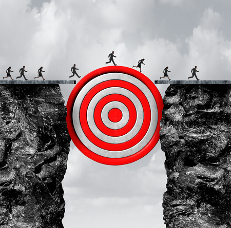 Recruiting target career goal as a group of people running through two cliffs with a bulls eye as a bridge as a business employee metaphor with 3D illustration elements.