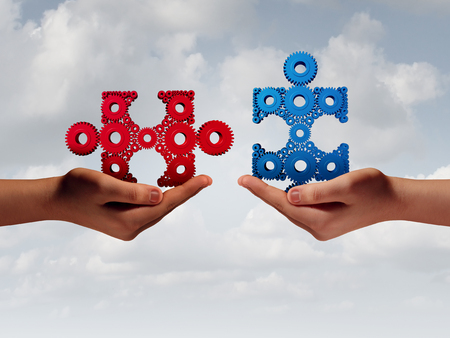 unify: Business solution people concept with human hands putting together a jigsaw puzzle made of gears with 3D illustration elements. Stock Photo