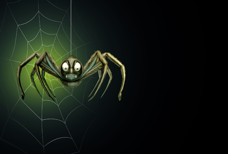 black: Spider halloween background as a creepy crawler arachnid insect hanging from a thread with a spiderweb on a glowing black blank area for text or promotional message as a 3D illustration.