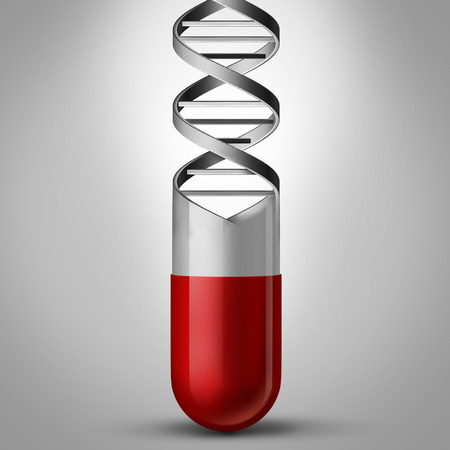 Pill DNA as a gene therapy and genetic medicine  concept as a prescription medication shaped as a double helix as a chromosome science symbol and genome biotechnology treatment as a 3D illustration. Reklamní fotografie